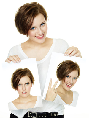 Woman shows her varying attitudes and expression of emotions