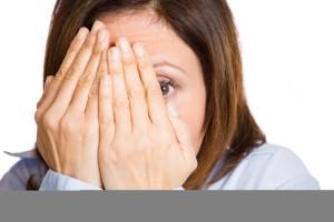Portrait , headshot Scared, afraid woman on white background